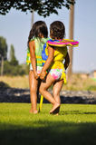 Two girls holding hands Royalty Free Stock Image