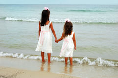 Two Girls Holding Hands Stock Photos