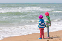 Two girls holding hands standing on beach and looking into the distance. Two girls holding hands standing on the beach and looking into the distance Stock Images