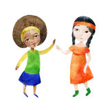 Two girls holding hands. Watercolor children. Two girls holding hands. Happy Friendship day background. Hand painted illustration that shows tolerant relations Royalty Free Stock Images