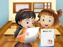 Two girls holding their exam results. Illustration of the two girls holding their exam results Royalty Free Stock Image