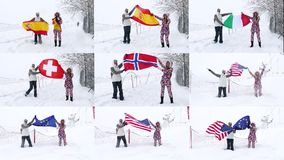Two girls holds various Flags waving in the wind. Two fans girls holds Flags of of various countries waving in the wind outdoors on ski slope. Collage stock video footage