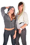 Two girls in hoods stock photography