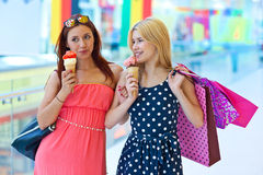 Two girls with ice cream Royalty Free Stock Images