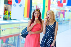 Two girls with ice cream Royalty Free Stock Photos