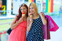 Two girls with ice cream Stock Photo