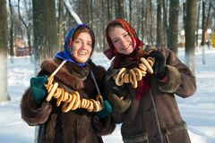Free Two Girls In Russian Traditional  Clothes Royalty Free Stock Photography - 12843527