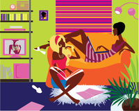 Two girls in interior. Illustration of two communicating girls doing purchases online Stock Images