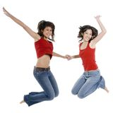 Two Girls Jumping Royalty Free Stock Images
