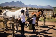 Two girls keeping saddle on fence Royalty Free Stock Images