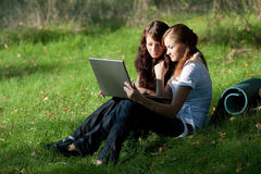 Two girls with laptop. Working on a grass Royalty Free Stock Photos