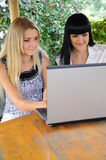 Two girls with laptop. Outdoors Stock Photography