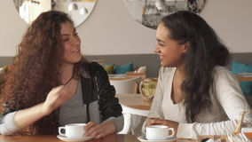 Two girls laugh at the cafe. Two attractive girls laughing at the cafe. Couple of female friends sharing news over the cup of coffee. Pretty african american and stock video footage