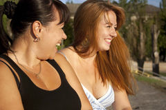 Two girls laughing Stock Images
