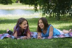 Two Girls Laughing Together Royalty Free Stock Images