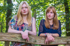 Two girls leaning on wooden fence in nature Royalty Free Stock Photo