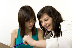 Two girls learning Royalty Free Stock Photography