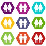Two girls lesbians icon set color hexahedron Royalty Free Stock Photo