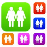 Two girls lesbians set collection Royalty Free Stock Image