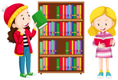 Two girls in the library. Illustration vector illustration