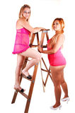 Two girls in lingerie. Royalty Free Stock Images