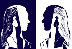 Two girls with long hair looking at each other. Blue and white vector illustration. Silhouette of woman head. Profile. Of a beautiful young girl. Fashion Stock Photo