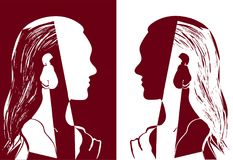Two girls with long hair looking at each other. Red and white vector illustration. Silhouette of woman head. Profile of a beautiful young girl. Fashion concept Royalty Free Stock Images