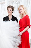 Two girls look at the dress. Two girls stare at the wedding dress hesitating about fitting, white background royalty free stock photos