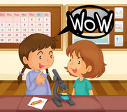 Two girls looking at microscope in classroom Royalty Free Stock Photos