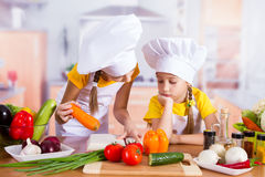 Two girls looking for a recipe in the book Stock Images