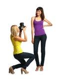 two girls make snapshots Royalty Free Stock Photos