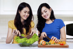 Two girls make vegetables salad Royalty Free Stock Images