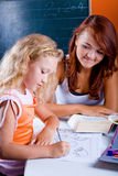 Two girls making homework Stock Photography