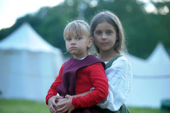 Two girls in medieval dress on the festival of historical reconstruction Royalty Free Stock Image