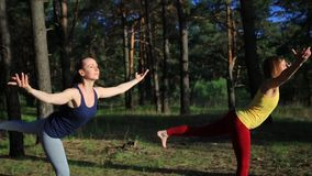 Two girls meditating practicing yoga fitness exercise at sunset in forest. stock footage