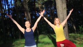 Two girls meditating practicing yoga fitness exercise at sunset in forest. Slow motion steadicam shot. stock footage