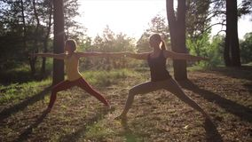 Two girls meditating practicing yoga fitness exercise at sunset in forest. Slow motion steadicam shot. stock video