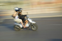 Two girls on moped, Nice, France Stock Photos