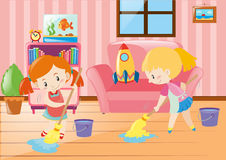 Two girls mopping living room. Illustration Royalty Free Stock Image