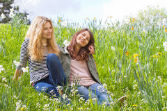 Two girls in nature Stock Image