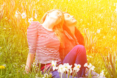 Two girls in nature Stock Photography