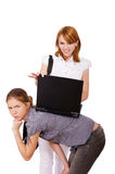 Two girls with notebook Royalty Free Stock Images