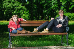 Free Two Girls On The Bench Stock Photo - 14601220