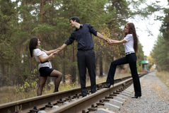 Two girls and one guy Royalty Free Stock Images