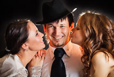 Two girls and one guy Stock Photo