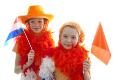 Two girls in orange outfit Royalty Free Stock Photography