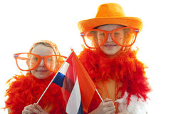 Two girls in orange outfit Stock Photo