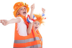 Two girls in orange outfit Royalty Free Stock Images