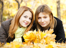 Two girls at otudoor in the park Stock Photography