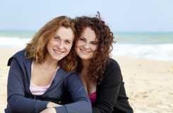 Two girls at outdoor near sea Stock Images